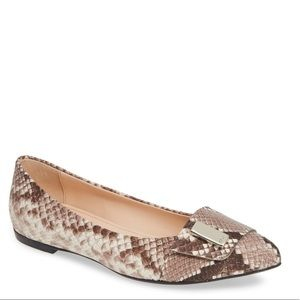 AGL Pointy Toe Flat Snake Embossed Leather Flats